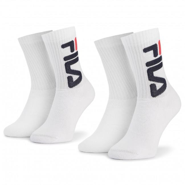 Súprava 2 párov vysokých ponožiek unisex FILA - F9598 White 300