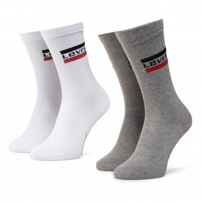 Súprava 2 párov vysokých ponožiek unisex LEVI'S - 37157-0156 White/Grey