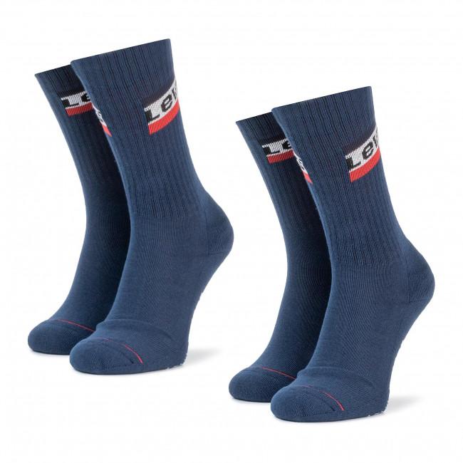 Súprava 2 párov vysokých ponožiek unisex LEVI'S - 982003001 Dress Blues 035