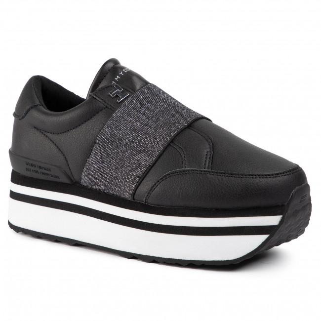 Sneakersy TOMMY HILFIGER - Elastic Slip On Fatform Sneaker FW0FW04603  Black BLK