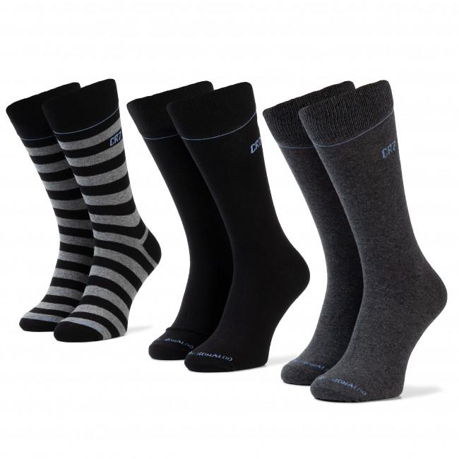 Súprava 3 párov vysokých ponožiek pánskych CRISTIANO RONALDO CR7 - 8279-80-100 Čierna Sivá