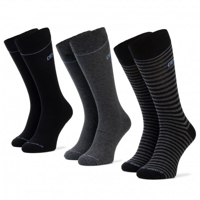 Súprava 3 párov vysokých ponožiek pánskych CRISTIANO RONALDO CR7 - 8273-80-101 Čierna Sivá