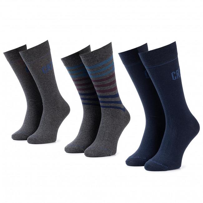 Súprava 3 párov vysokých ponožiek pánskych CRISTIANO RONALDO CR7 - 8273-80-110 Sivá Tmavo modrá