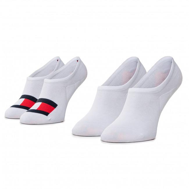 Súprava 2 párov kotníkových ponožiek unisex TOMMY HILFIGER - 320208001 White 300