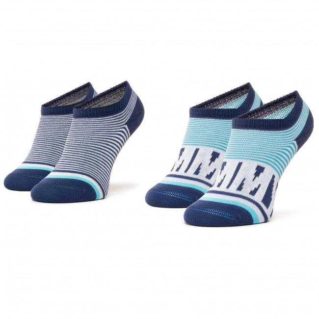 Súprava 2 párov kotníkových ponožiek detských TOMMY HILFIGER - 320407001 Real Teal 005