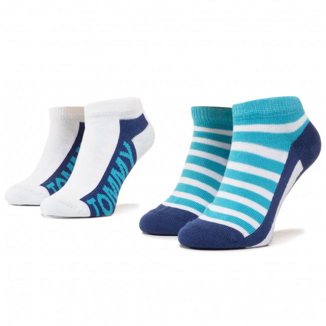 Súprava 2 párov kotníkových ponožiek detských TOMMY HILFIGER - 320409001 Real Teal 005