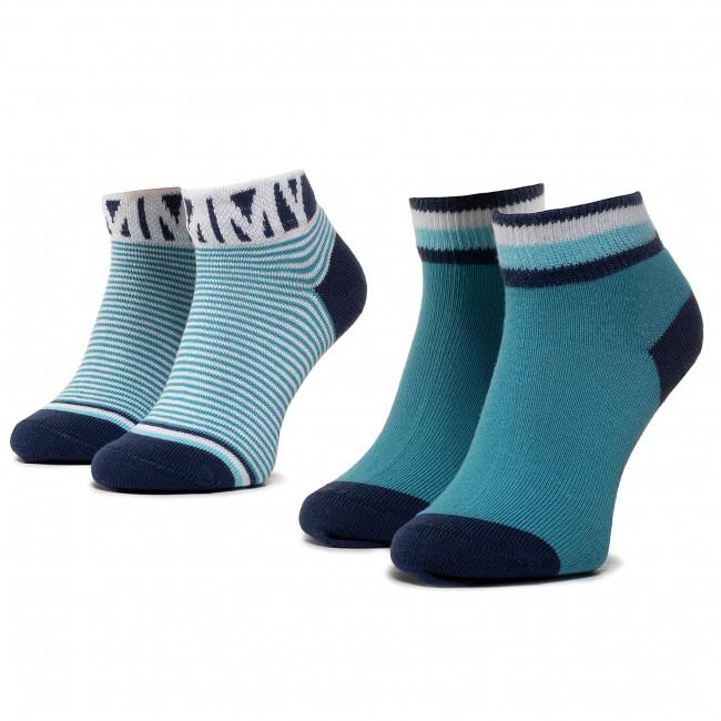 Súprava 2 párov kotníkových ponožiek detských TOMMY HILFIGER - 320413001 Real Teal 005