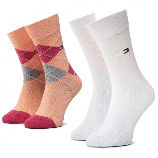 Súprava 2 párov vysokých ponožiek detských TOMMY HILFIGER - 334013001 Pink Lady 026