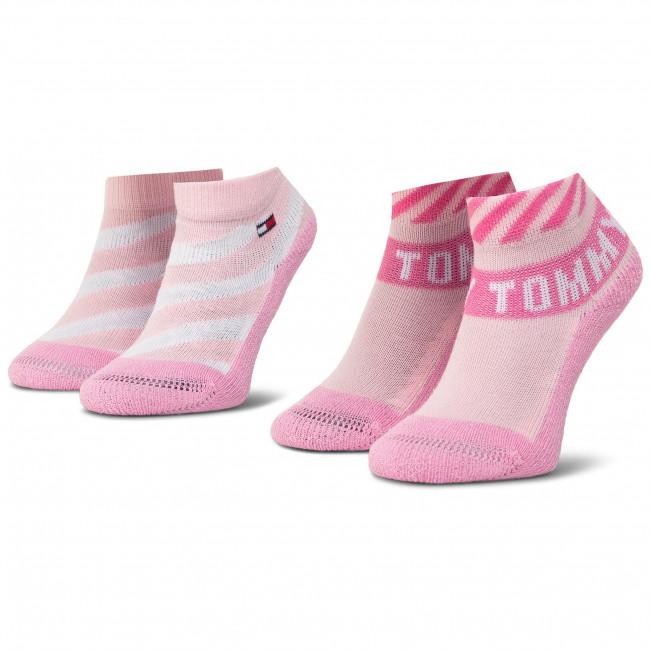 Súprava 2 párov kotníkových ponožiek detských TOMMY HILFIGER - 320503001 Pink Combo 024