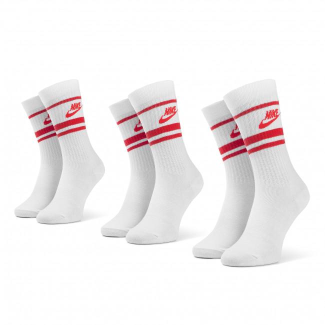 Súprava 3 párov vysokých ponožiek unisex NIKE - CQ0301 102 Biela Červená