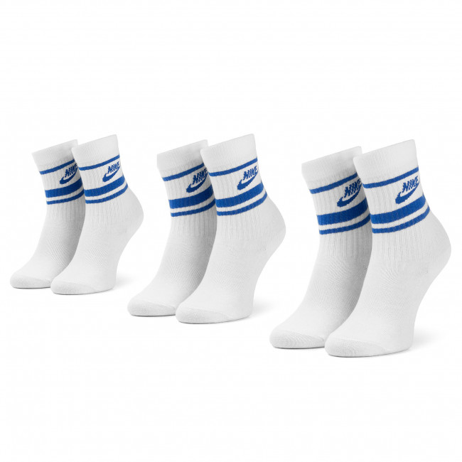 Súprava 3 párov vysokých ponožiek unisex NIKE - CQ0301 105 Biela Modrá