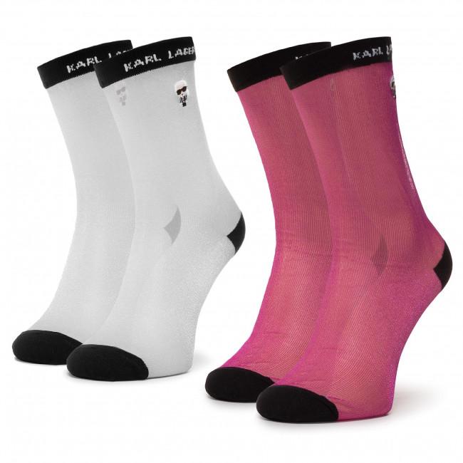 Súprava 2 párov vysokých ponožiek dámskych KARL LAGERFELD - 201W6004 Silver/Fuchsia 295