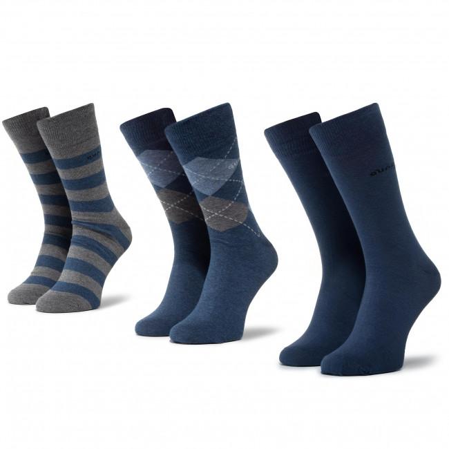Súprava 3 párov vysokých ponožiek pánskych QUAZI - QZ-SOCKS-65-04-MEN-007 Sivá