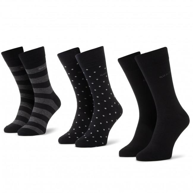 Súprava 3 párov vysokých ponožiek pánskych QUAZI - QZ-SOCKS-65-04-MEN-009 Čierna