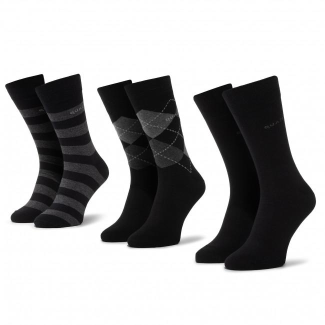Súprava 3 párov vysokých ponožiek unisex QUAZI - QZ-65-04-MEN-011 Čierna