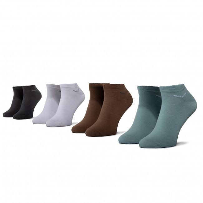 Súprava 4 párov kotníkových ponožiek unisex QUAZI - QZ-SOCKS-65-04-MEN-016 Biela Čierna Hnedá Zelená