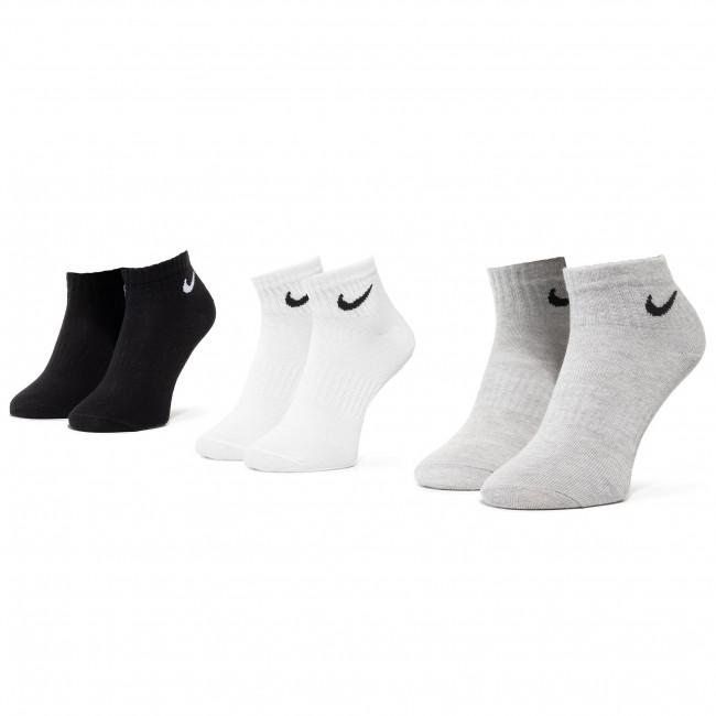 Súprava 3 párov kotníkových ponožiek unisex NIKE - SX7677 901 Biela Čierna Sivá