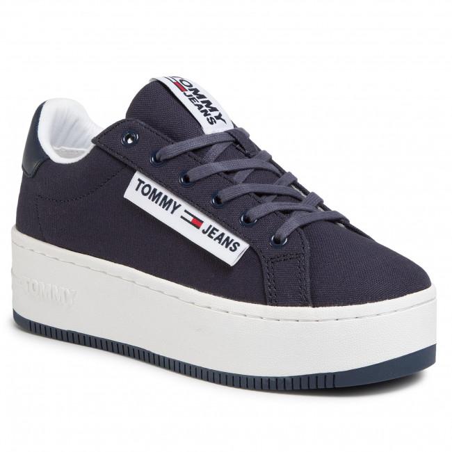 Sneakersy TOMMY JEANS - Oversized Label Icon Sneaker EN0EN00787 Twilight Navy C87