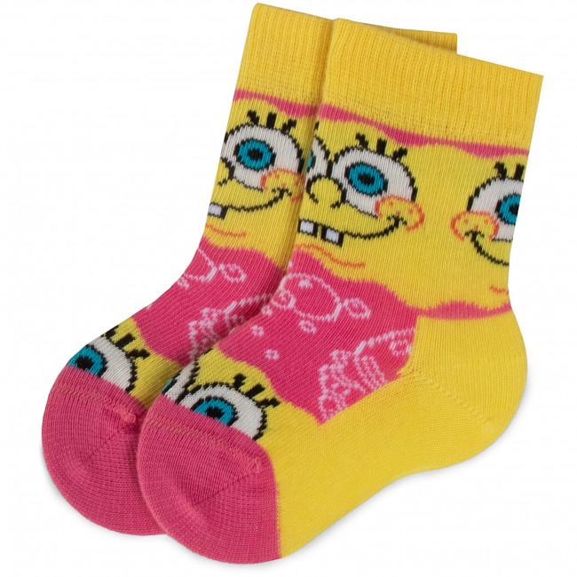 Ponožky Vysoké Detské HAPPY SOCKS - KBOB01-3000 Ružová Žltá