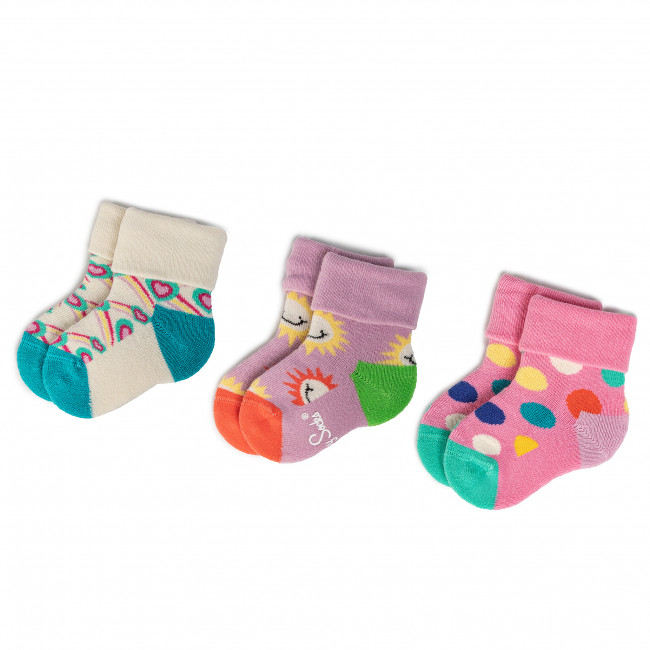 Súprava 3 párov vysokých ponožiek detských HAPPY SOCKS - XKID08-3000 Béžová Farebná Fialová Ružová