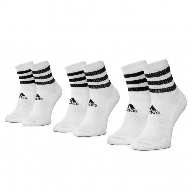 Súprava 3 párov vysokých ponožiek unisex adidas - 3S Csh Crw3p DZ9346 White/White/White