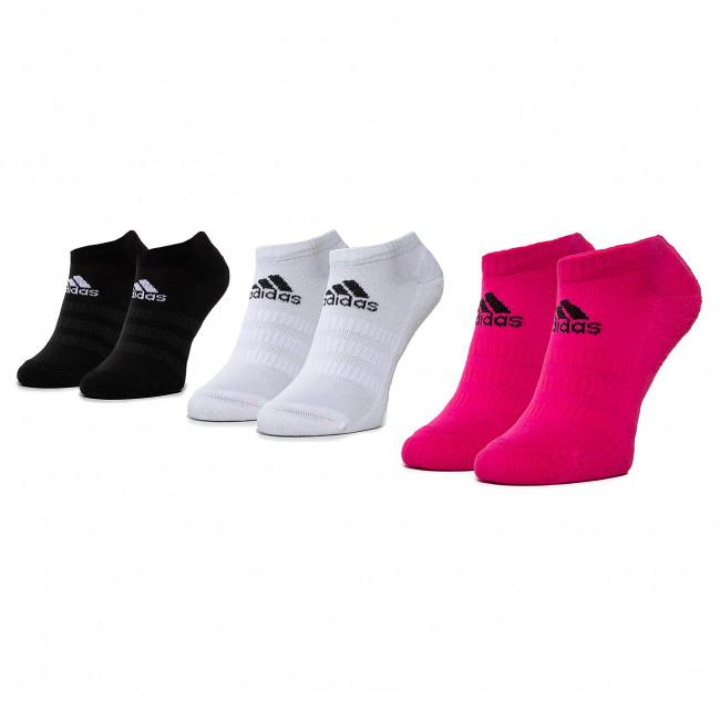 Súprava 3 párov kotníkových ponožiek dámskych adidas - Cush Low 3PP DZ9386 Biela Čierna Ružová