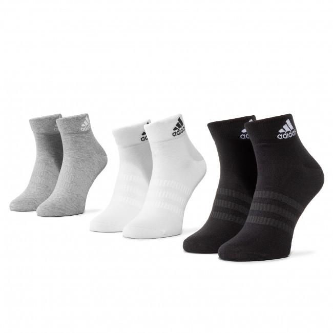 Súprava 3 párov kotníkových ponožiek unisex adidas - Light Ank 3PP DZ9434 Mgreyh/White/Black