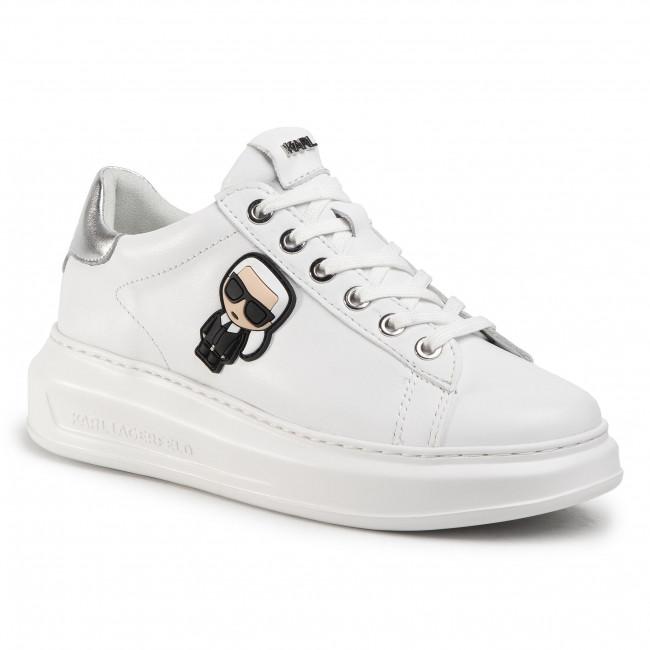 Sneakersy KARL LAGERFELD - KL62530  White Lthr W/Silver