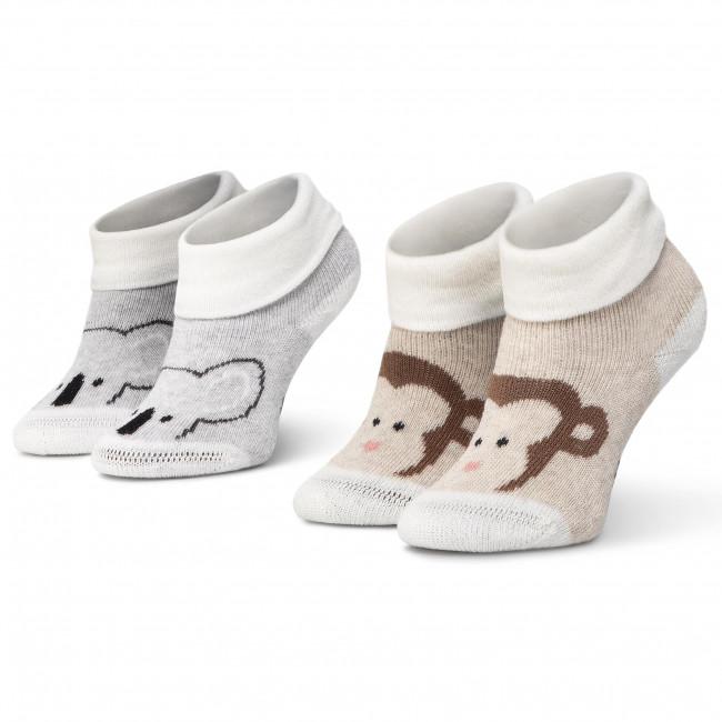 Súprava 2 párov kotníkových ponožiek detských TOM TAILOR - 93119 Animal Off White 671