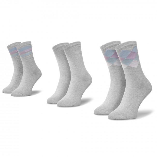 Súprava 3 párov vysokých ponožiek dámských QUAZI - QZ-SOCKS-65-04-WOMAN-006 Sivá