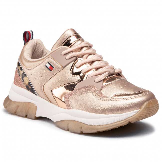 Sneakersy TOMMY HILFIGER - Low Cut Lace-Up Sneaker T3A4-30825-0489 M Rose Gold/Beige X938