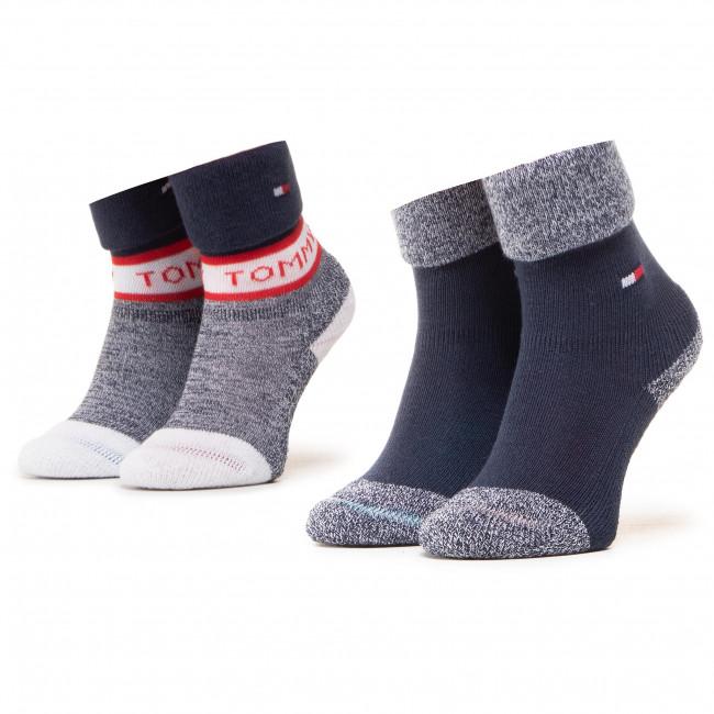 Súprava 2 párov vysokých ponožiek detských TOMMY HILFIGER - 100000797 Tommy Original 001
