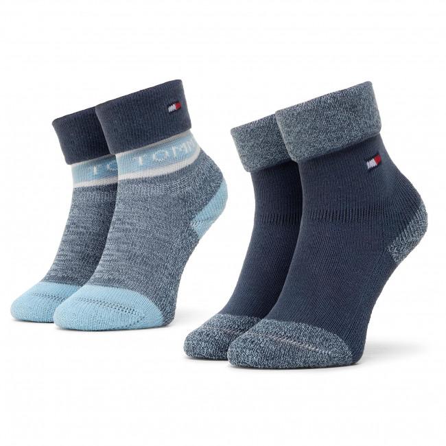 Súprava 2 párov vysokých ponožiek detských TOMMY HILFIGER - 100000797  Blue Comb 002