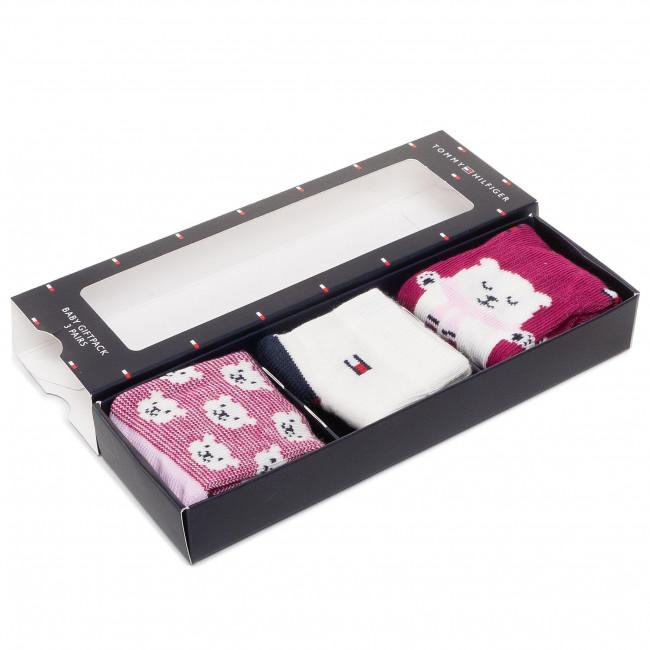 Súprava 3 párov vysokých ponožiek detských TOMMY HILFIGER - 100000803 Pink Combo 003