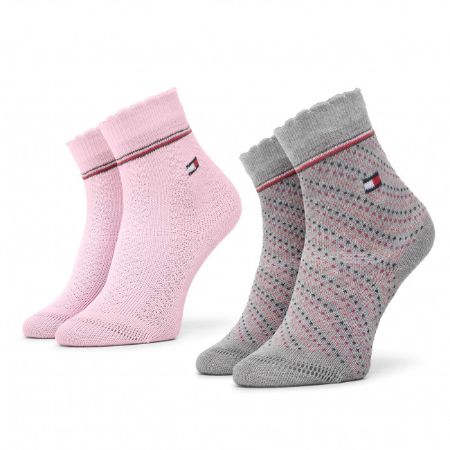 Súprava 2 párov vysokých ponožiek detských TOMMY HILFIGER - 100000804 Pink Combo 002
