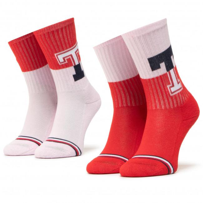 Súprava 2 párov vysokých ponožiek dámskych TOMMY HILFIGER - 100000807 Rouge Red 003
