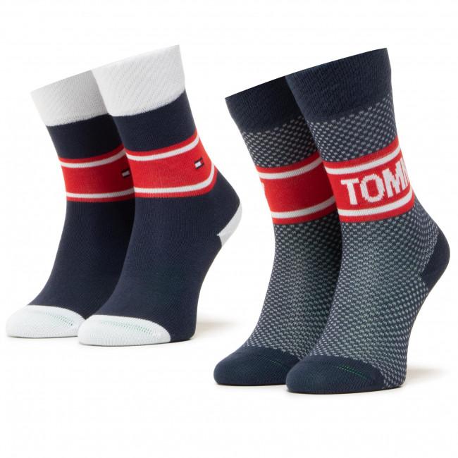 Súprava 2 párov vysokých ponožiek dámskych TOMMY HILFIGER - 100000809 Tommy Original 001