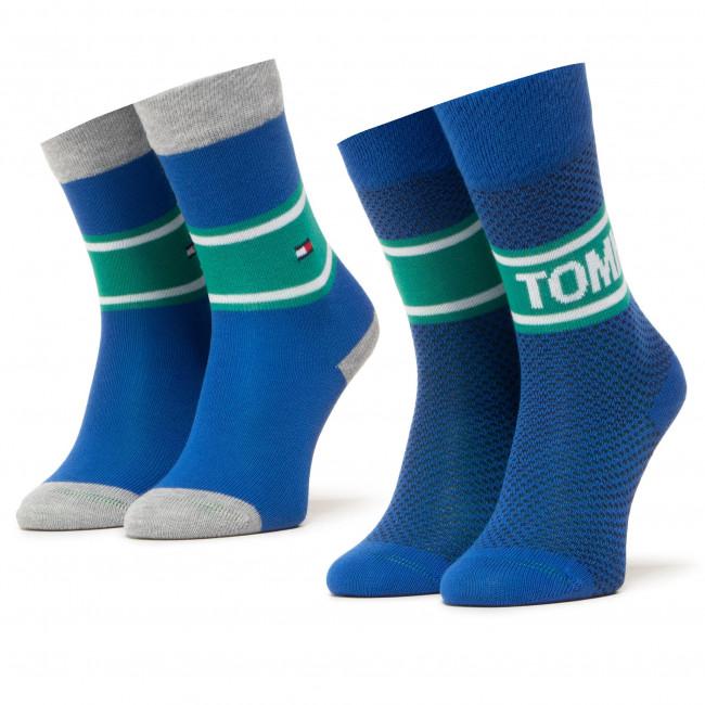 Súprava 2 párov vysokých ponožiek dámskych TOMMY HILFIGER - 100000809 Forever Blue 002