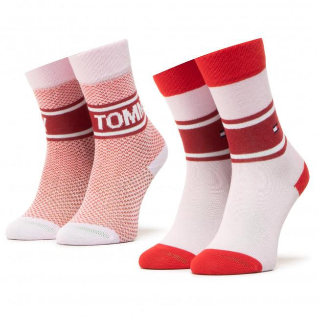 Súprava 2 párov vysokých ponožiek dámskych TOMMY HILFIGER - 100000809 Rouge Red 003