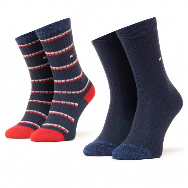 Súprava 2 párov vysokých ponožiek detských TOMMY HILFIGER - 100000814  Navy 001