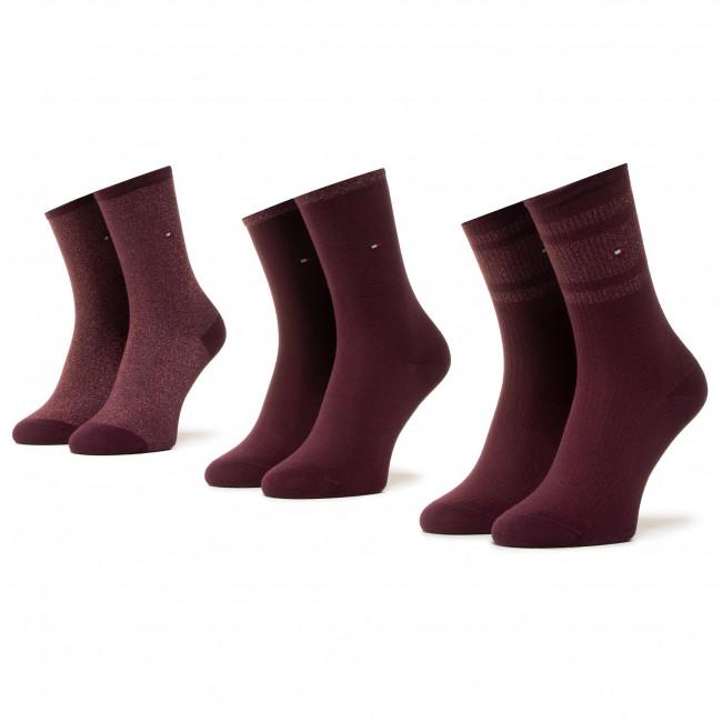 Súprava 3 párov vysokých ponožiek dámských TOMMY HILFIGER - 100000865 Winetasting 002