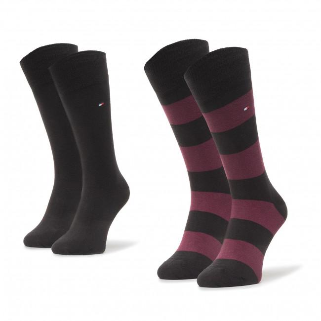 Súprava 2 párov vysokých ponožiek pánskych TOMMY HILFIGER - 342021001 Black Combo 001