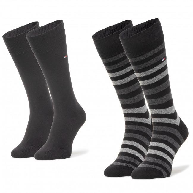 Súprava 2 párov vysokých ponožiek pánskych TOMMY HILFIGER - 472001001  Black 2000