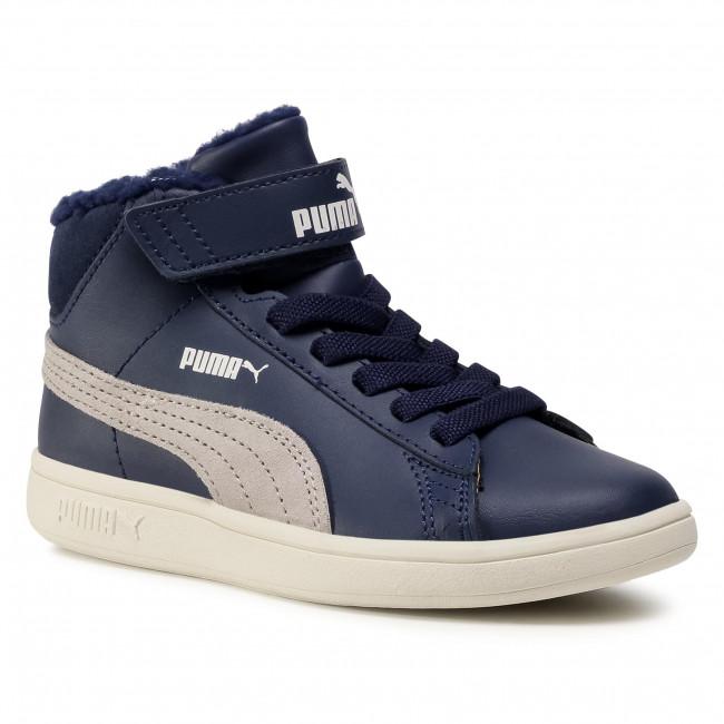 Sneakersy PUMA - Smash v2 Mid L Fur V PS 366896 06 Peacoat/Grey Fiolet