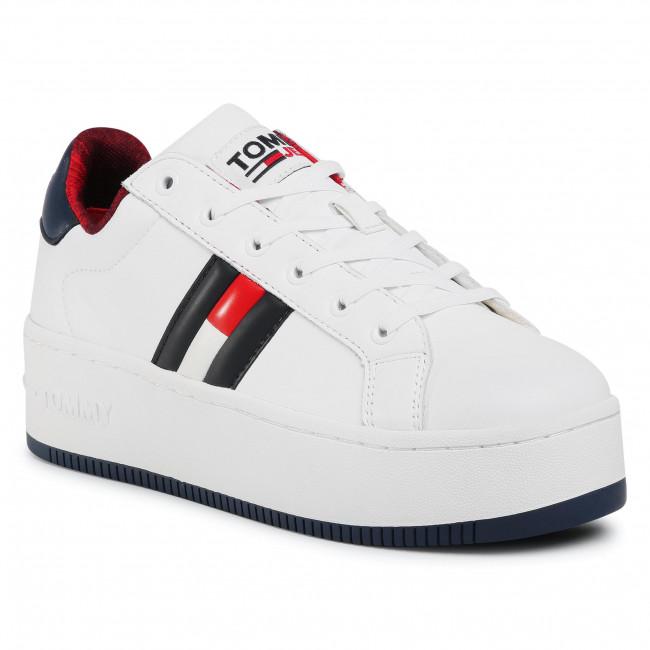 Sneakersy TOMMY HILFIGER - Iconic Flag Flatform Sneaker EN0EN01108 Rwb 0K4