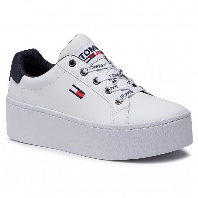 Sneakersy TOMMY HILFIGER - Iconic Leather Flatform Sneaker EN0EN01113 White YBR