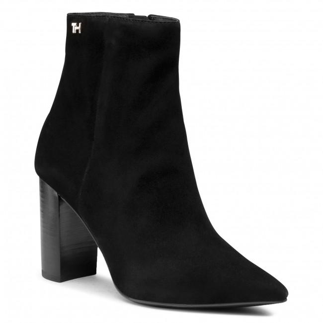 Členkové čižmy TOMMY HILFIGER - Essential Suede High Heel Boot FW0FW05177 Black BDS