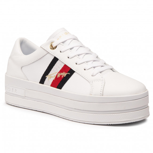 Sneakersy TOMMY HILFIGER - Th Signature Flatform Cupsole FW0FW05212 White YBR