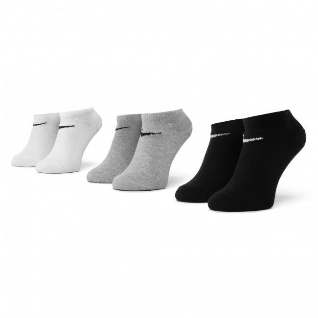 Súprava 3 párov kotníkových ponožiek unisex NIKE - SX2554 901 Biela Čierna Sivá
