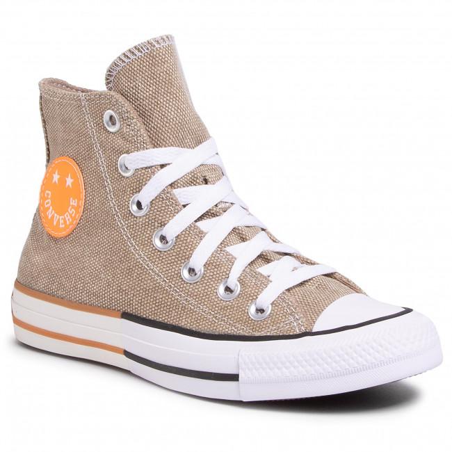 Tramky CONVERSE - Ctas Hi 167658C  Khaki/Total Orange/White